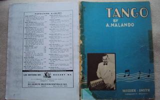 Tango by A. Malando; Nuottivihko harmonikalle