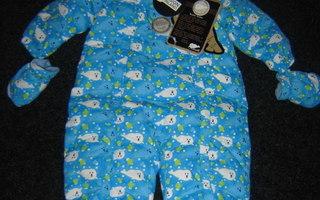 Sininen KUUTTI-kuvioinen talvihaalari pojalle, koko 80 cm