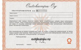 Outokumpu Oy yritystodistus specimen 21 x 15 cm