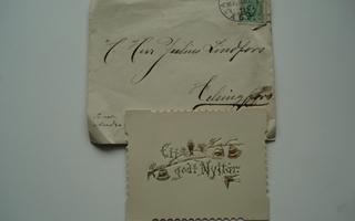 Ett godt nyt år kortti vuodelta1899 (postikortin edeltäjä)