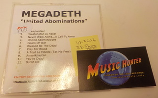 MEGADETH - UNITED ABOMINATIONS VERY RARE PROMO SLEEVE CDR