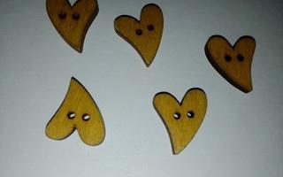 Keltainen sydän nappi 5 kpl *