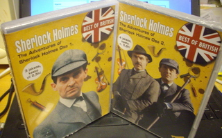 2 x DVD : The Adventures of Sherlock Holmes Osa 1-2 UUSI!!!