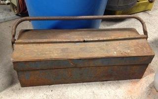 Työkalupakki vanha metallinen kaksikerroksinen