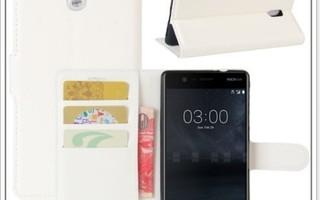 Nokia 3 - Valkoinen lompakkokuori & suojakalvo #23359