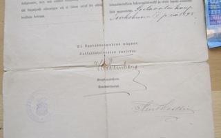 Todistus Vapautus Asepalveluksesta 1898 Viipuri Sortavala