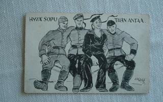Ada Onnela: hyvä sopu tilaa antaa, sotilaspostikortti.
