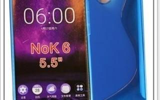 Nokia 6 - Sininen geeli-suojakuori & suojakalvo #23407