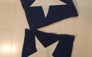<3 Tyynyliinat 2 kpl t.sininen/valkoiset tähdet