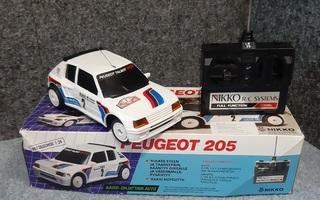 Ari Vatanen Peugeot 205. Nikko kauko-ohjattava pienoismalli