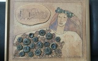 Auermaa Tuula keramiikkataulu1983, n 40 x 46 cm