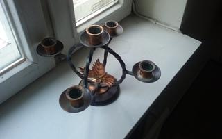 Kynttelikkö, rauta/kupari, 5 kynttilää