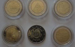 11 kpl erilaisia SUOMI 2 euron erikoiskolikoita 2005-2012