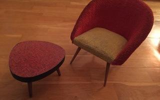 Nuken SOHVAPÖYTÄ & NOJATUOLI fiftari 50's antiikki vintage