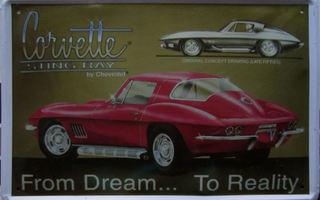 Corvette Stingray - Metallinen taulu 20 x 30cm