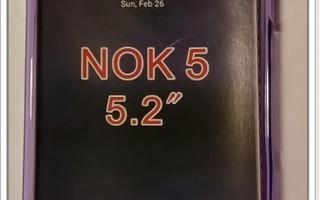 Nokia 5 - Lila geeli-suojakuori & suojakalvo #23412